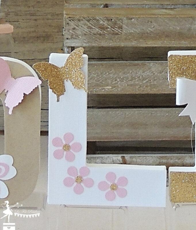 Lettre décorée prénom enfant cadeau baptême naissance thème fleur papillon