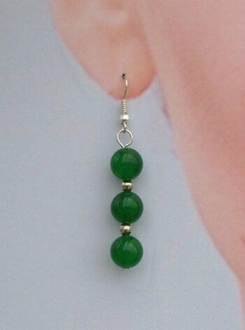 Boucles d'Oreilles Pendantes Chirine 3 Perles Jade Vert 10 mm Argent du Tibet