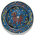 A large chinese cloisonné enamel 'mythical beast' basin, ming dynasty (1368-1644)