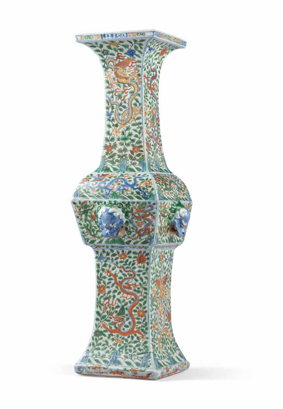 A Massivewucai'Dragon'gu-Form Vase, Wanli Six-Character Mark In Underglaze Blue Within A Double Rectangle And Of The Period (1573-1619)