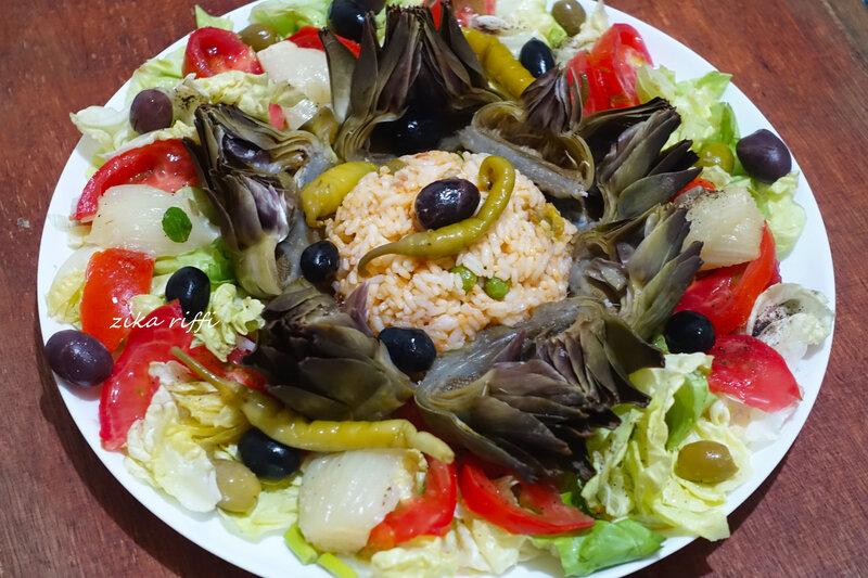 salade composée riz au thon artichauts fenouil tomates et laitue 03