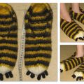 chaussons tigre feutrés