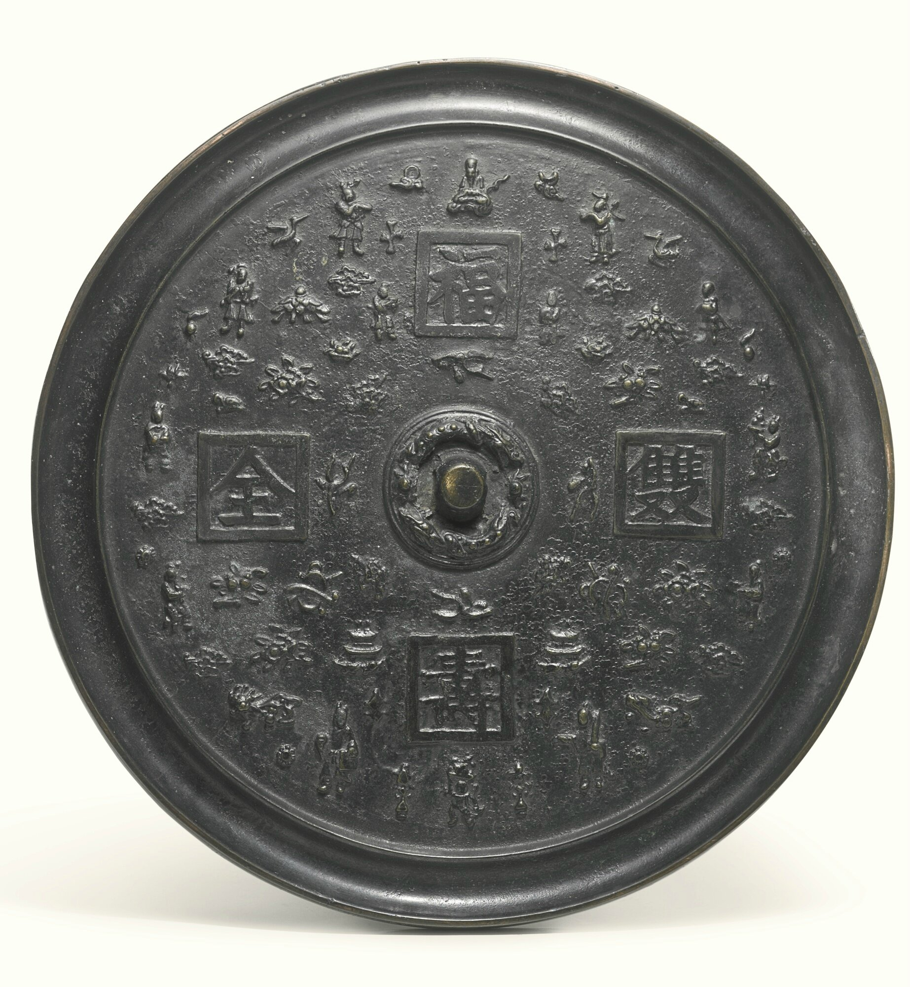 A large Chinese bronze mirror, 17th-18th century