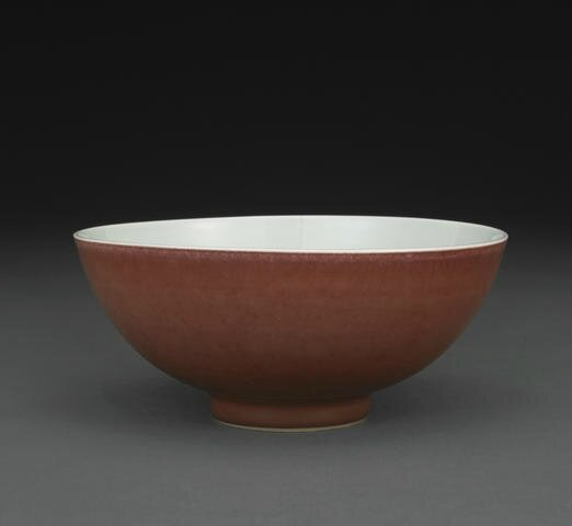 A copper red glazed bowl, Yongzheng six-character mark and of the period. Photo Bonhams
