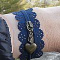 Un petit côté vintage pour ce bracelet fermeture éclair et breloque bronze ! tissu un peu dentelle de la fermeture éclair !