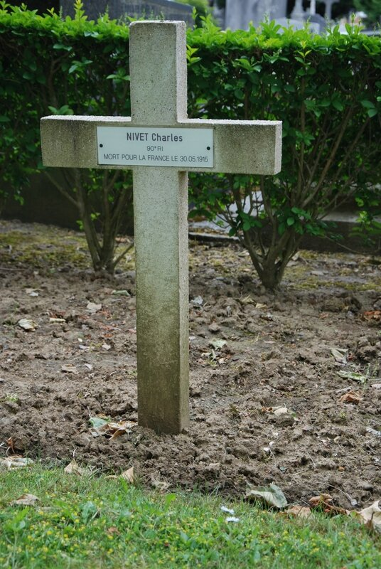 Charles Nivet - Carré militaire du cimetière communal de Lens-Est