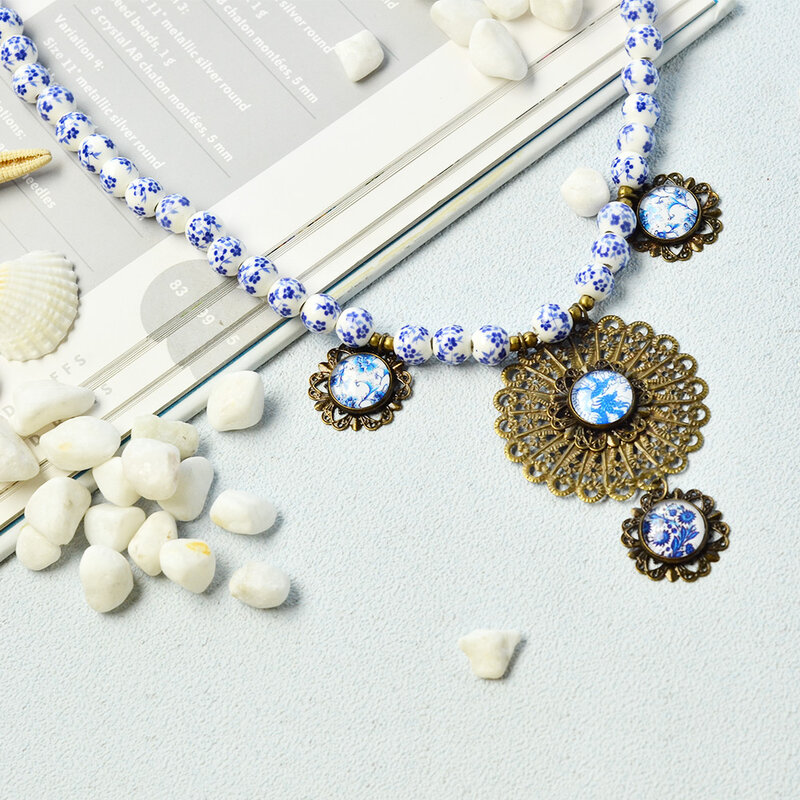 PandaHall-Jewelry-Making-Idea-on-Porcelain-Beads-Necklace-with-Glass-Cabochons-Pendants-6