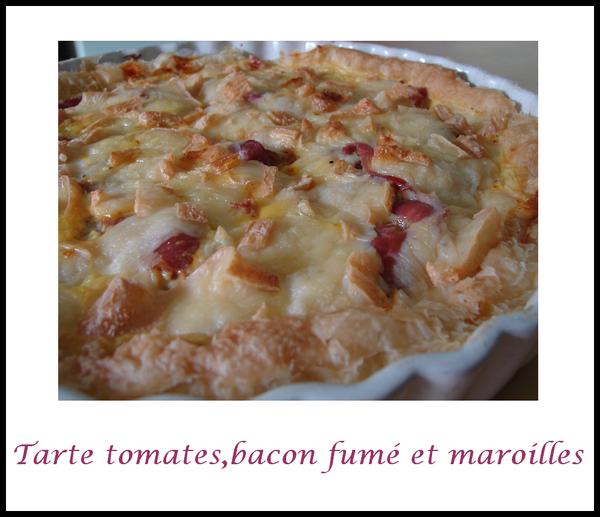 tarte tomates, bacon fumé et maroilles