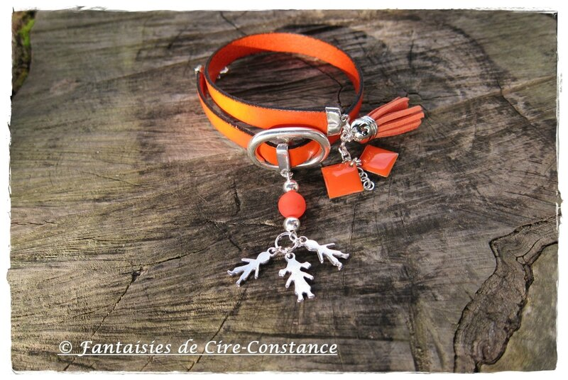 bracelet cuir orange double tour Love Family