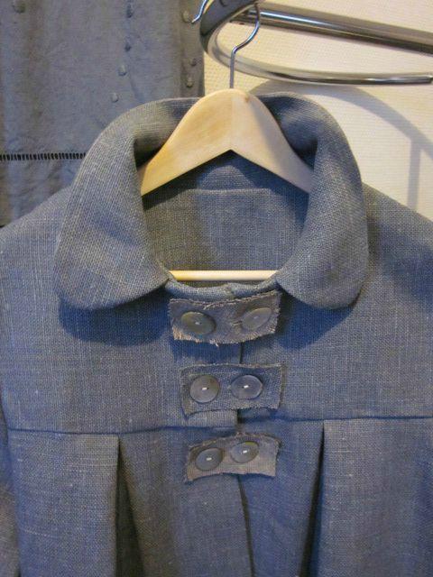 Manteau d'été bicolore en lin bleu fané et ficelle (3)