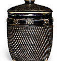 A rare and unusual blackish-brown-glazed jar and cover, Jin dynasty, late 12th-13th century