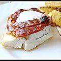 Cabillaud en croûte de chorizo, frites de panais à la farine de pois chiches et parmesan