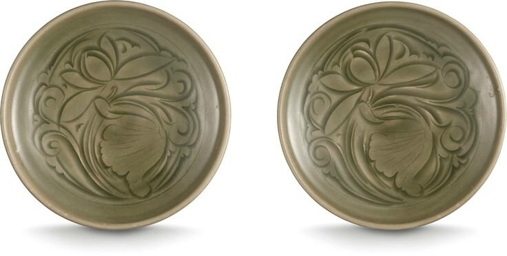 A rare pair of Yaozhou' carved 'lotus' dishes, Northern Song dynasty