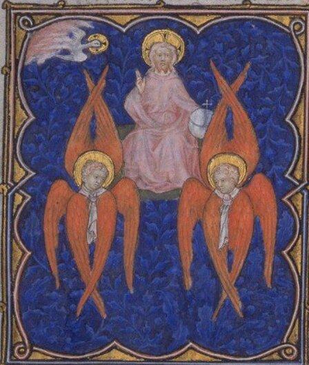 Séraphins, trône de Dieu, Petites Heures de Jean de Berry, XIVe s, BNF