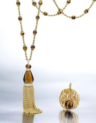 A-suite-of-18k-gold-tigers-eye-and-diamond-jewelry-Kutchinsky