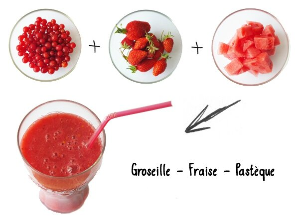 3 Smoothie Rouge couleur