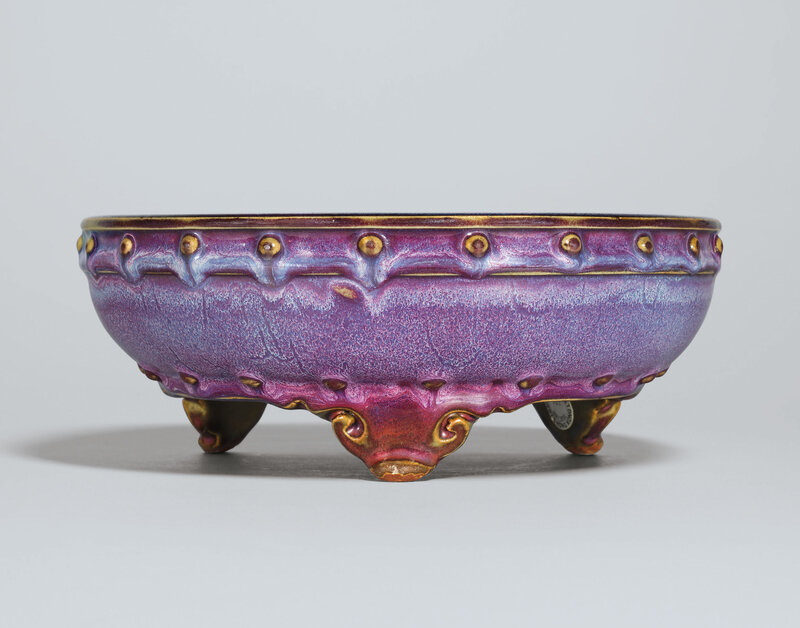 A fine and extremely rare 'Numbered one' Jun tripod bulb bowl, Yuan-Ming dynasty, 14th-15th century