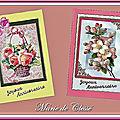 Carte 3D 2018 Panier Fleuri et roses Joyeux Anniversaire et Carte 3D 2018 Roses églantines Joyeux Anniversaire