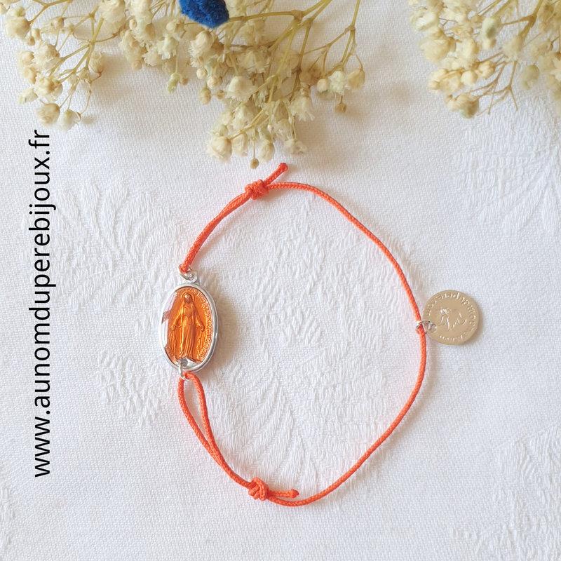 Bracelet Médaille miraculeuse émaillée sur cordon fin (orange)