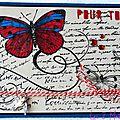 carte avec papillon rouge et bleu