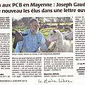 Pollution aux pcb en mayenne : joseph gaudin alerte de nouveau les élus...
