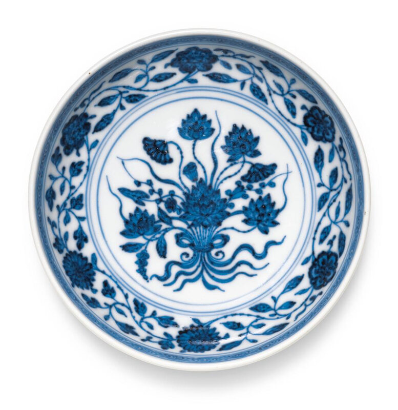 A blue and white 'Lotus bouquet' saucer, Yongzheng mark and period (1723-1735)