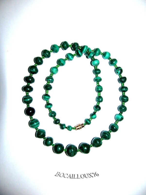 Collier MALACHITE 14 Perles (3)
