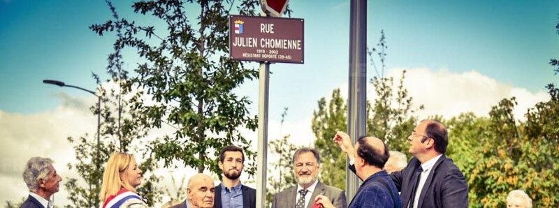 plaque en hommage à Julien Chomienne, Le Progrès, 11 sept 2017