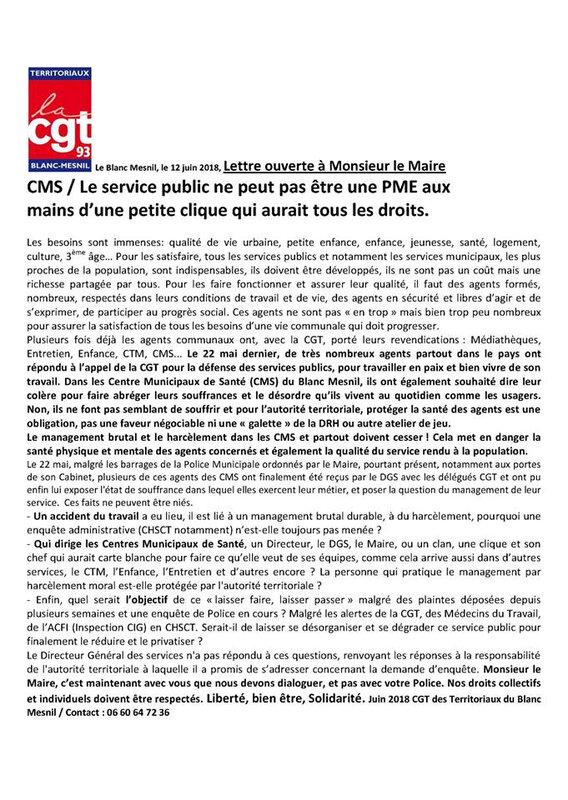 lettre ouverte de la cgt territoriaux du lbm