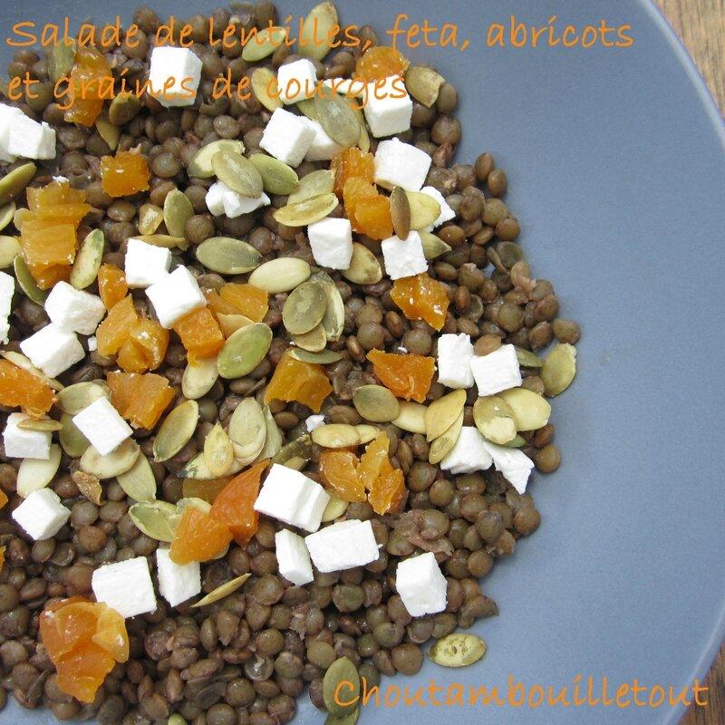 salade lentilles feta abricot graines de courges