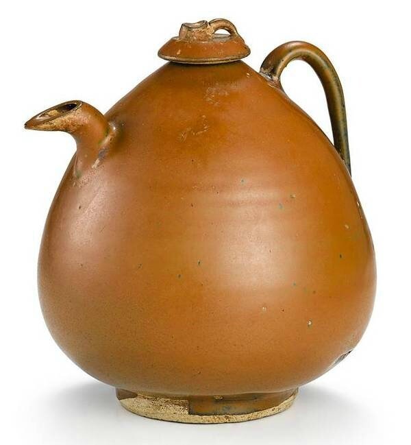 A 'Cizhou' persimmon-glazed ewer and cover, Northern Song – Jin dynasty