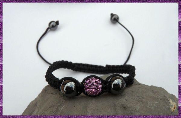 Bracelet Shamballa 1 Perle Disco Cristaux Strass Mauve Fil Noir + Hématite