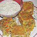 Gâteau de macédoine, maïs, thon au curry - tartare maison