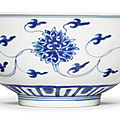 A fine blue and white 'lotus' bowl, kangxi mark and period (1662-1722)