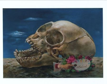Aaron Bohrod, The Skull, circa 1955, Oil on Board, 3.5 x 5 inches (10 x 8 inches framed). Butler Fine Art