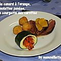 Magrets de canard à l'orange, pommes noisettes panées