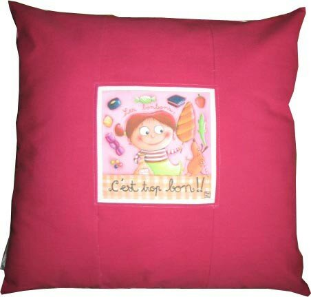 coussin GM bonbons rose