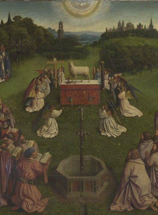 Agneau mystique détail vertical, frères Van Eyck, 1432