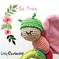 Jouet d'éveil sonore - Hochet [ Papillon ] bois, tissu et Crochet - Be free - Naissance - HandMade in France - ©Little Curiosité (3)
