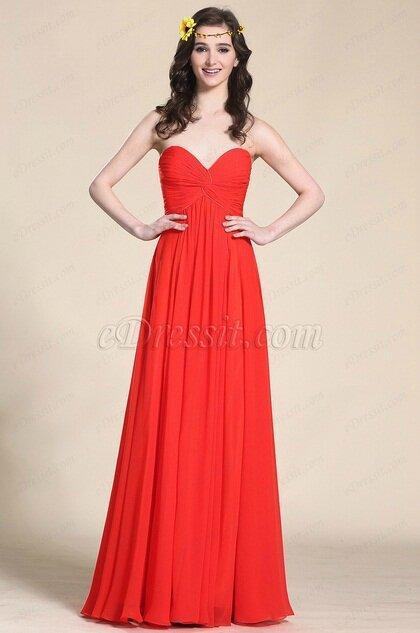 Robe longue bustier rouge taille empire pour mariage - Photo de ... 87e0ef6dc1ea