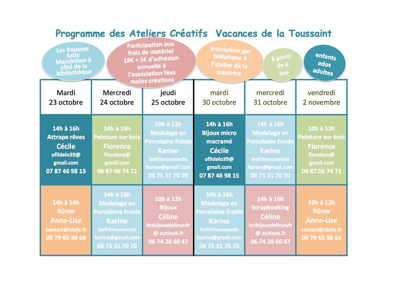 programme ateliers 1 Feuil1