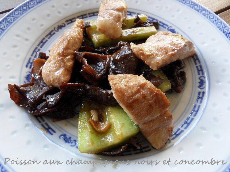 poisson aux champignons noirs et concombre
