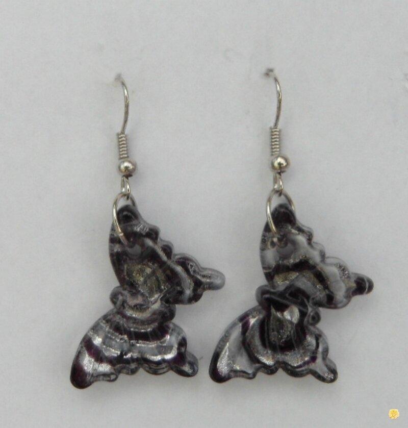 Boucles d'Oreilles Papillon Noir Blanc Argent Verre Soufflé Style Murano