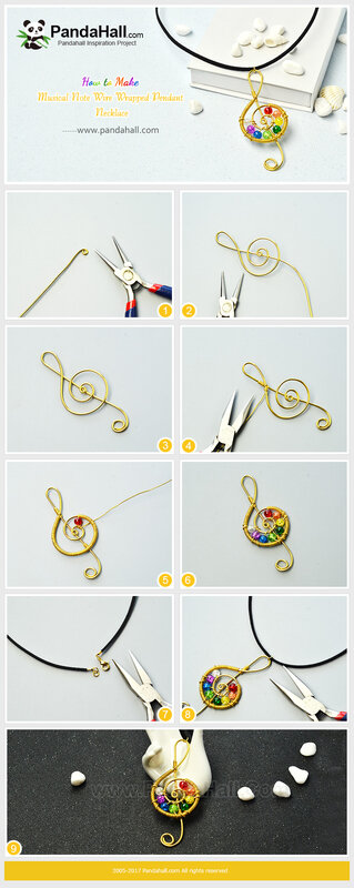 7-Musical Note Wire Wrapped Pendant Necklace