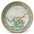 A famille-rose 'pheasant and peony' reticulated dish, qing dynasty