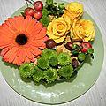 Quelques compositions florales, dans le cadre de partage-créations....