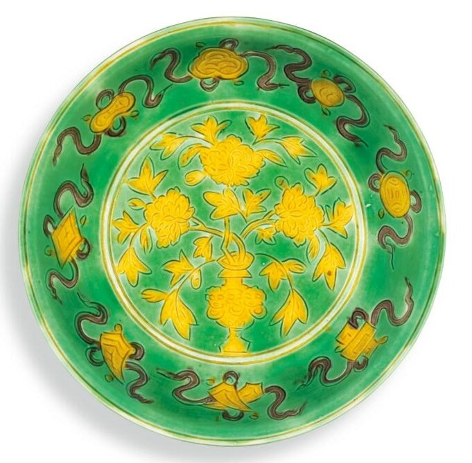 A green-ground sancai dish, mark and period of Wanli (1573-1619)