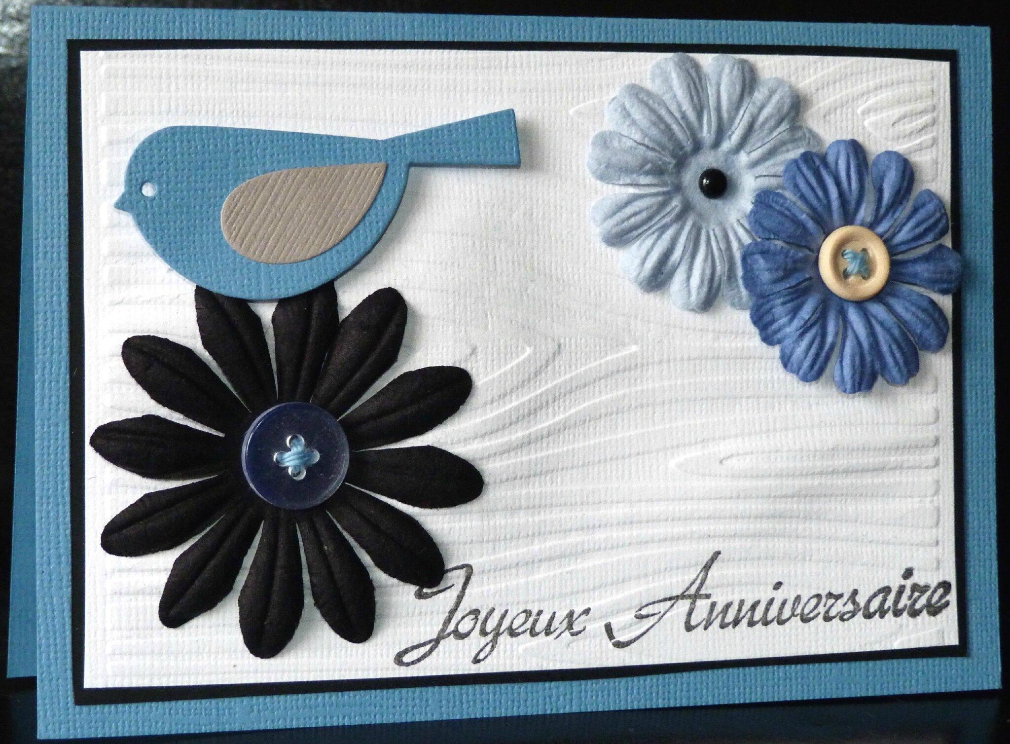 Carte D Anniversaire Nature Avec Effet Bois Oiseau Et Fleurs En Bleu Et Blanc L2mg La Boutique