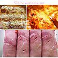 Roulades de jambon aux coeurs de céleri, sauce légère à la moutarde et dés de tomate