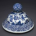 A blue and white cover, Jiajing period (1522-1566)